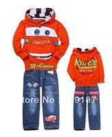 2013 clothing sets children short sleeves cars T-shirt+short jeans baby boys cartoon clothing sets summer Children suits pants