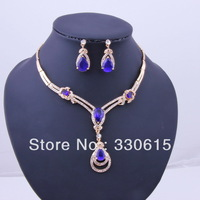 promotional discount dubai african silver plated jewelry blue rhinestone zircon dropcrystal necklaces jewelry set