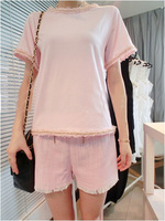 Women's t-shirt basic shirt female 2013 summer cute short-sleeve fresh wind small laciness small flare sleeve