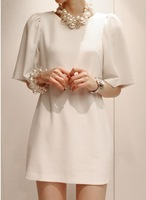 Gentlewomen noble 2013 summer elegant solid color medium-long one-piece dress female fifth sleeve o-neck
