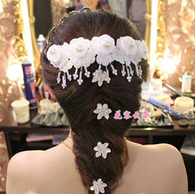 White pearl bridal hairpin accessories comb flower hair accessory marriage wedding dress accessories