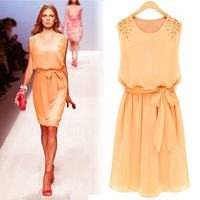 Elegant Brand Catwalk Chiffon Sleeveless Pearls Designer Dress Large Size Orange