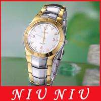 Free shipping Trendy men Hour white Round Dial silver gold Armor dedign Stainless steel Quartz Wrist Watch