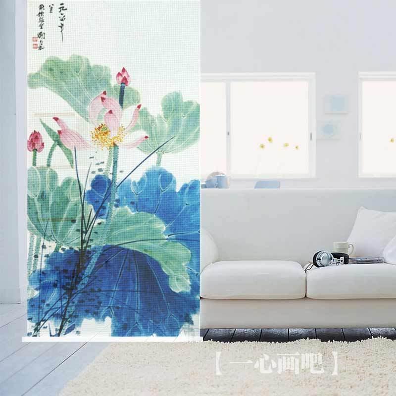 100 cm * 200 cm rosa flor de lótus e folha de lótus verde imagem sala de impressão rolo divisores sombra pendurar telas cega grátis frete(China (Mainland))