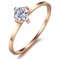 Free Shipping Fashion Women 316L Stainless Steel Rose Gold Plated Slim CZ Solitaire Wedding Ring 1mm Size 5 - 8 For Bride's Gift