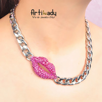 Hot selling 2013 new red lip necklace silver chain chunkey necklace choker necklace brand jewelry  Luxury jewelry