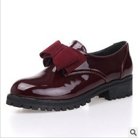 The new student bowknot paint light leather fashion thick thick with women's shoes