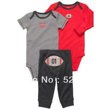 Carter New red long-sleeved striped short-sleeved Romper Rugby Rugby PP pants three-piece