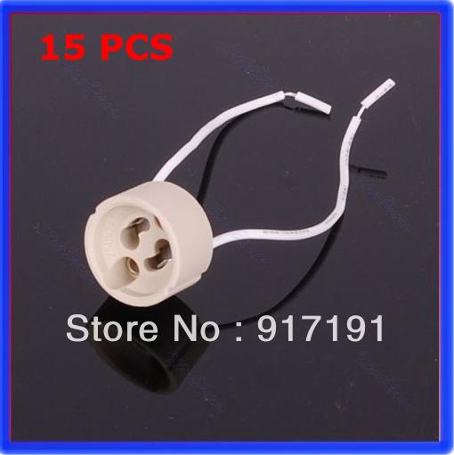 C18Free Shipping 15pcs/lot GU10 Base Socket Lamp Holder Ceramic Wire Connector(China (Mainland))
