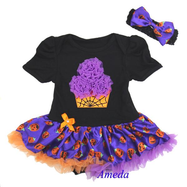 Halloween Baby Purple Spider Web Cupcake Pumpkin Pettiskirt Bodysuit and Headband(Hong Kong)