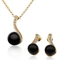 18K Gold Plated Pearl Jewelry Sets with Rhinestones & Genuine Austrian Crystals Nickel Free Charming Jewelry  LS313