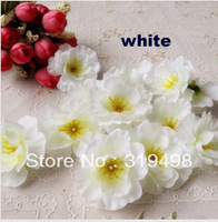 "Free shipping (200 pcs/lot) white 4.5 cm 1.77 "" Artificial silk peach blossom plum blossom cherry blossom diy flower"