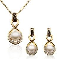 18K Gold Plated Pearl Jewelry Sets with Rhinestones & Genuine Austrian Crystals Nickel Free Charming Jewelry  LS322