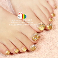 2013 New Dreamy Gold Glitter French Toe false nail/fake nail/nail tips,24 pcs,free shipping