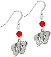 Free shipping Crystal Wisconsin Badgers NCAA Anti-Silver plated drop earrings 20 pairs a lot Wholesale