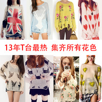 Free shipping 2013wildfox flower thin sweater sun protection clothing rose hole sweater female