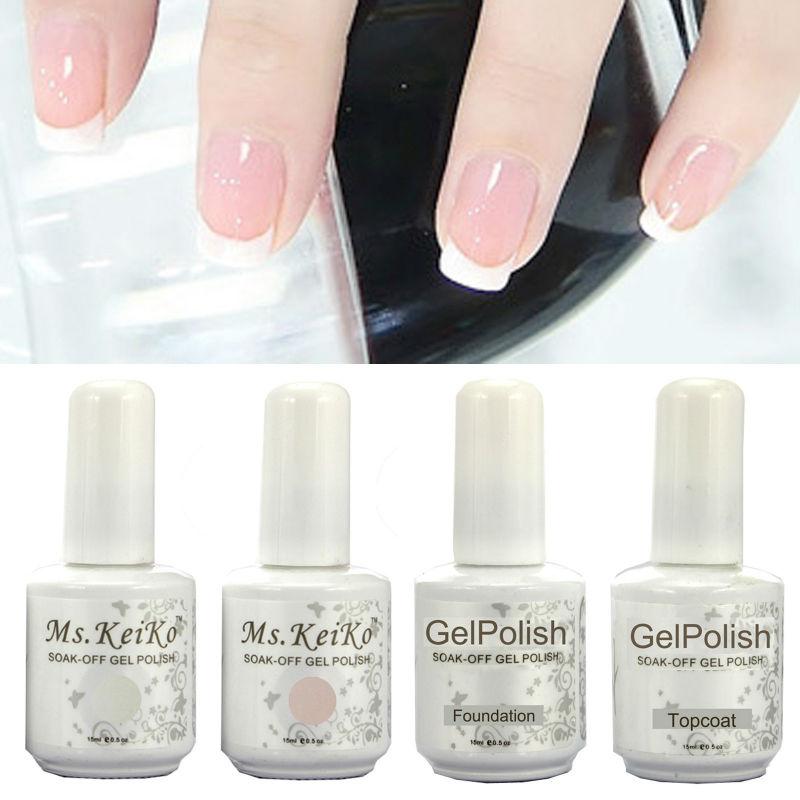 Gelishgel French White Pink color UV LED Soak Off Gel Nail Polish French Tips top/basecoat(China (Mainland))