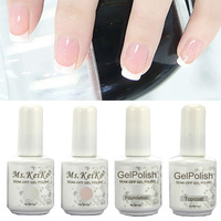 Shellac Gelishgel French White Pink color UV LED Soak Off Gel Nail Polish French Tips top/basecoat
