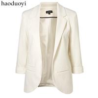 candy color three quarter sleeve lady blazer roll sleeve no button blazer formal slim
