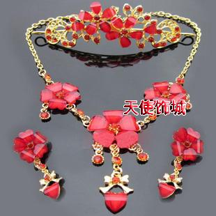 Red bride accessories piece set marriage accessories bride chain sets alloy flower necklace rhinestone necklace