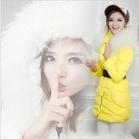 Free shipping! slim thickening beach wool large fur collar down coat medium-long women's clothing 2013 winter warm down jacket
