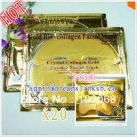 Free Shipping Brand New 10pcs Gold Crystal Collagen Facial Mask +10pcs tonymoly   Crystal Collagen Gold Powder Eye Mask Hot Sell