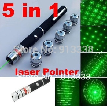 Free Shipping  Hight Quality 5 in 1 5mW Green Laser Pointer 532nm DJ Party Lazer Light firefly firework pen beam + Gift Box