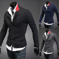 Free delivery of 2013 new styles The neckline spell color fashion metrosexual stand-collar suit