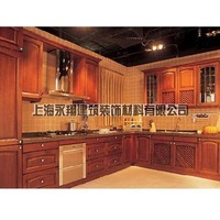 Configuration high quality blue yingtaomu solid wood door modular kitchen cabinet solid wood door