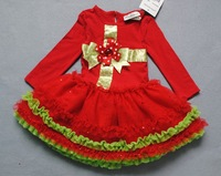 Retail Baby Girl Christmas Longsleeve Dress Tutu Skirt Dress 1pc Festival Dress Baby Clothing Red Santa Dress