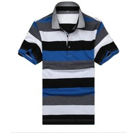 Free shipping 2013 Summer  Wholesales Casual  Men Cotton Polo Shirt  Polychromatic striped short sleeve Plain T-shirt Men Shirt