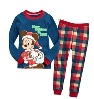 free shipping 6sets/lot boys girls christmas cartoon sleep set kids 2pcs long sleeve pajamas holiday gift