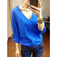 New fashion women's blouses casual loose chiffon 3 colors shirt Free shipping LSH1321