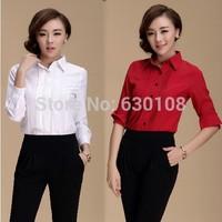 S-XXL 2014 New Autumn Net Fashion Women Blouses Clothes Plus size Casual Career Slim Big yards long sleeve chiffon office shirt