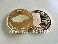 DHL free shipping ! wholesale 50pcs/lot 1 OZ Mandela A Long Walk to Freedom Robben island 1964~1982 Pure gold Clad Coins
