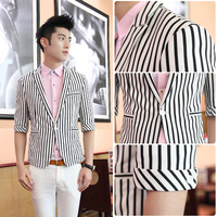 Free shipping 2013 summer men clothing korean style male black and white stripe half sleeve slim suit single breasted blazer