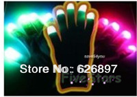 Free Shipping 10 Fun Ravor LED Gloves Kids Hand Toys Novelty  Birthday Christmas Party Gifts Night Party Supplies