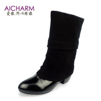 Fashion autumn and winter genuine leather boots thick heel round toe medium-leg boots fashion boots taojian single boots
