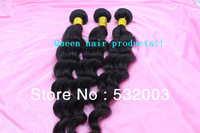 Quality same as the star's hair,3pcs Queen hair products Mixied length Peruvian virgin hair loose wave,Natural color&unprocessed