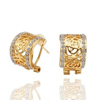 LE490 18K Gold Plated Rhinestones Queen Earrings Made of Genuine Austrian Crystals Health Care Nickel Free Jewelry