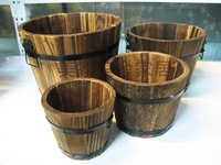 Wooden flower pot wooden tub wood flower balcony kitchen plant box
