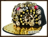 Skull punk rivet nail metal hiphop flat brim hat male hip-hop