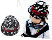 Skull boy female male child jazz fedoras hat child baby fashion hat