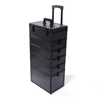 Professional make-up Large fortress multi-layer trolley cosmetic box black the disassemblability multi-layer