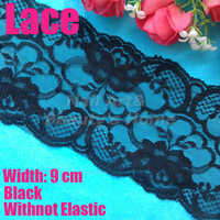 10 meters/ lot  9cm width Black lace withnot elastic for fabric warp knitting DIY Garment Accessories free shipping#1757