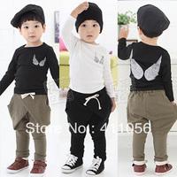 2013 autumn clothing boys girls clothing child wings long-sleeve T-shirt harem pants set tz-0562