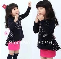5pcs 2013 new Autumn Korean Girls Dress / bow Kcat swallowtail dress / long sleeve dress pink and black.