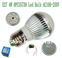10pcs/lot  Led Bulb E27 Silver Aluminum 8Pcs 5730 4W 440lm AC 100-250V(A1)