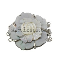Free shipping!!!Shell Box Clasp,Tibetan Jewelry, with Brass, Flower, 3-strand, 40x35x10mm, Hole:Approx 1.5mm, Sold By PC