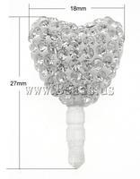 Free shipping!!!Earphone Jack Dust Cap Plugs,tibetan, Clay, with Rubber, Heart, with rhinestone, 27x18x11mm, 10PCs/Bag